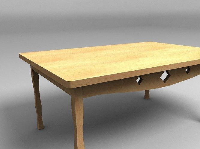 wooden table 3d model low-poly obj mtl 3ds fbx lwo lw lws hrc xsi blend 1