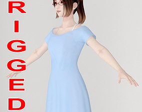 rigged T pose rigged model of Natsumi in blue dress