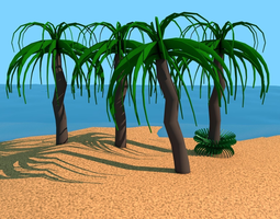 Low Poly cartoon Palm Tree 3D model