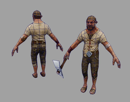 Bricklayer 3d model game lowpoly low-poly