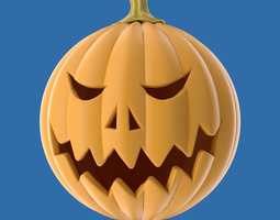 carved halloween pumpkin 3d