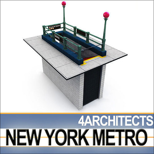 new york subway  metro entrance a 3d model obj mtl 3ds c4d vue 1