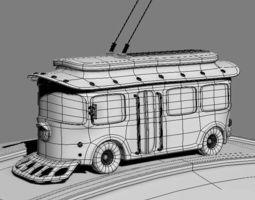 trolleybus cartoon 3d model max obj