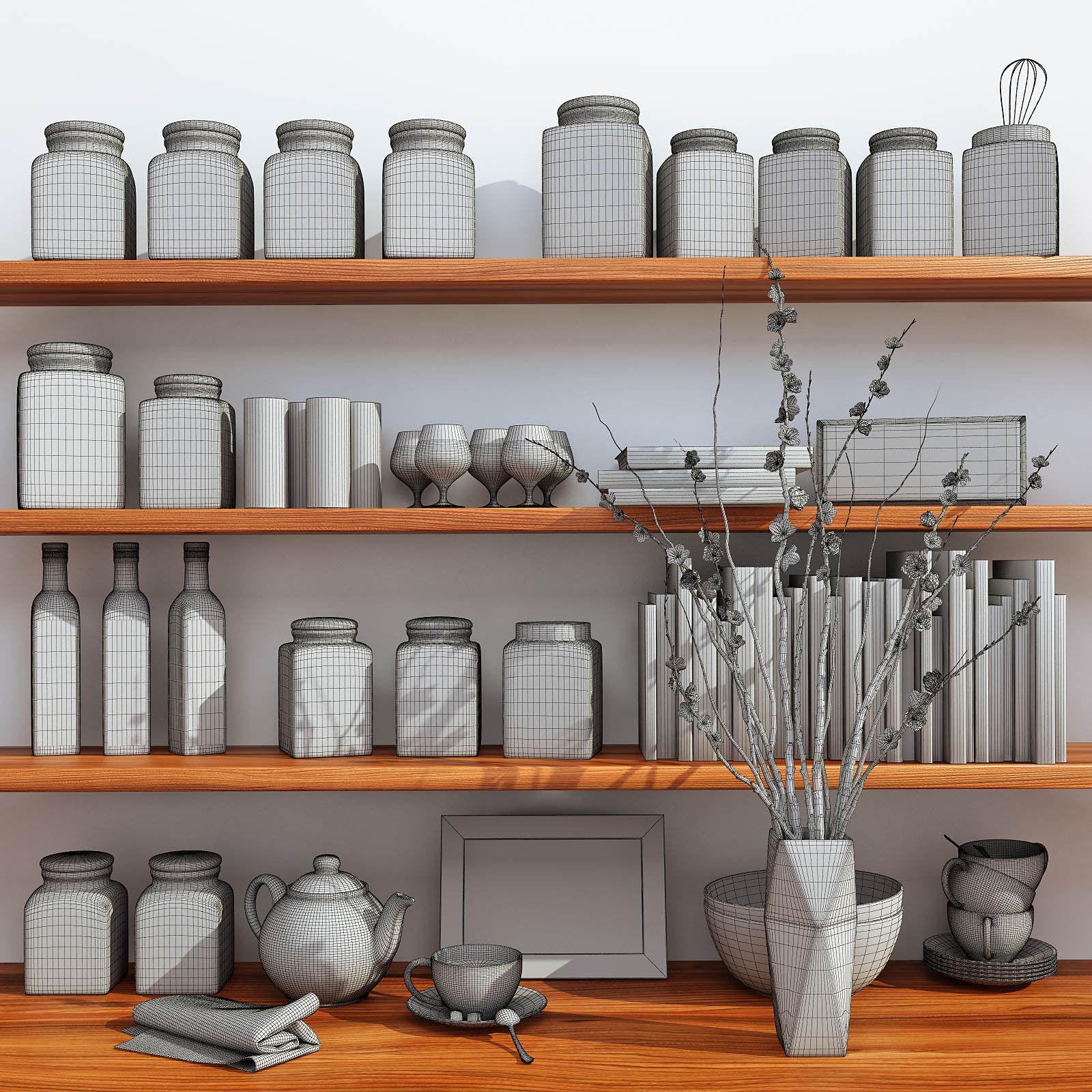 Kitchen decorative set 3d model max fbx for Kitchen set 3d warehouse