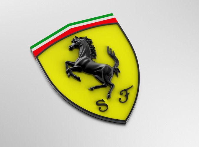 3d Model Ferrari Logo With Horse And Cuneiform Shield Vr