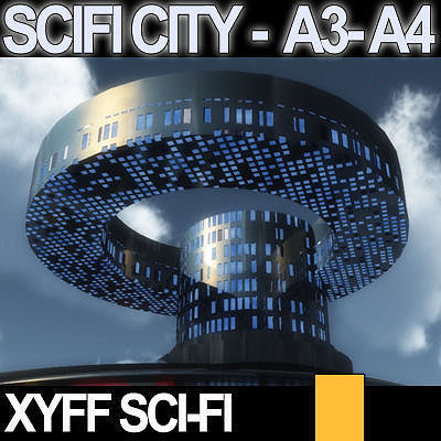 Sci fi city futuristic architecture a3 a4 3d model obj 3ds for Architecture 3d vue 3d