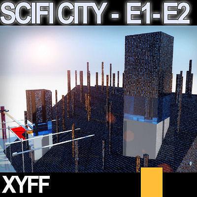 Sci fi city futuristic architecture e1 e2 3d model obj 3ds for Architecture 3d vue 3d