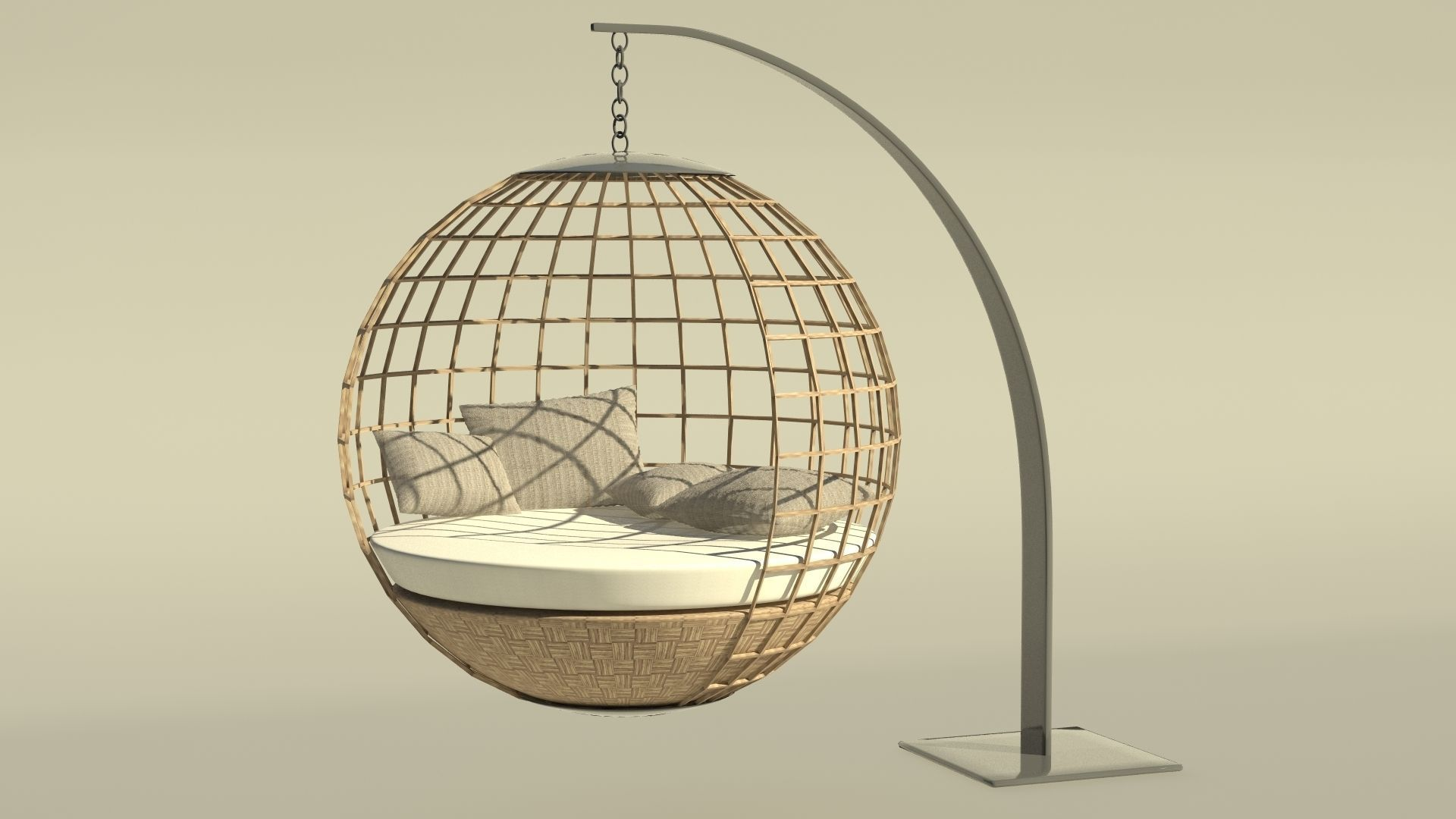 ... Daybed Hanging Chair 3d Model Max Obj 3ds Mtl Mat 2