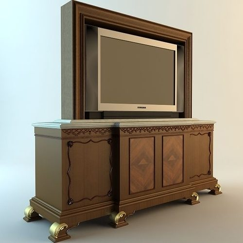 tv and stand 3d model cgtrader. Black Bedroom Furniture Sets. Home Design Ideas