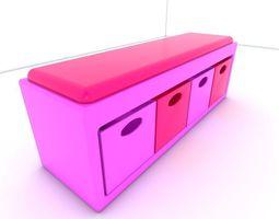 3D asset Stool seat pink