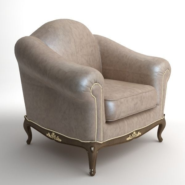 Traditional Style Leather Armchair
