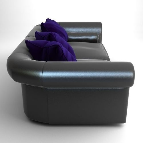 Black Sofa with Pillows 3D Model MAX OBJ 3DS - CGTrader.com
