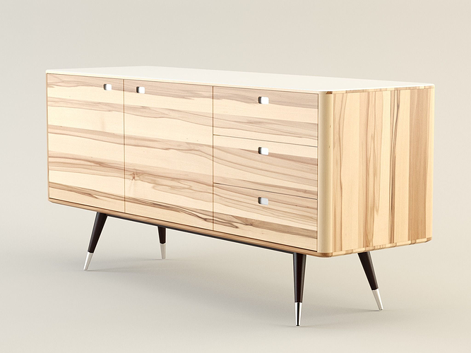 3d model danish retro sideboard cgtrader for Sideboard 3d