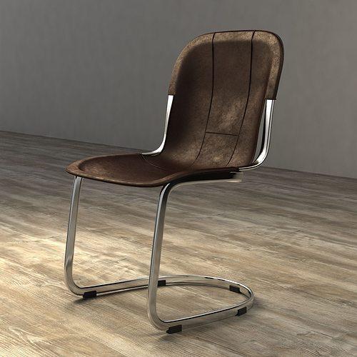 Restoration Hardware Leather Chair: Restoration Hardware RIZZO LEATHER SIDE CHAIR 3D Model MAX