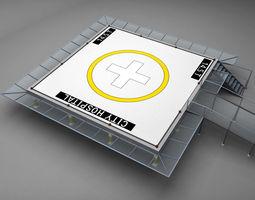 helipad squared 3d model max obj 3ds fbx mtl