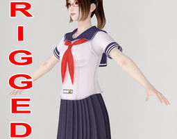3D T pose rigged model of Natsumi in school