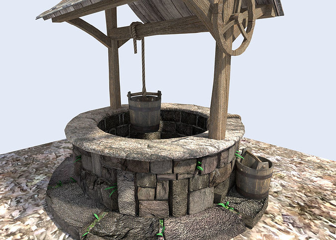 3d model detailed medieval water well cgtrader