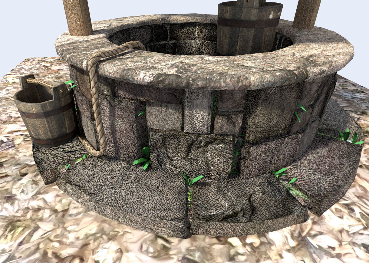 detailed medieval water well