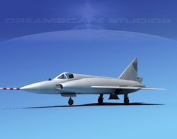 onvair F-102 Delta Dagger Bare Metal 3D Model