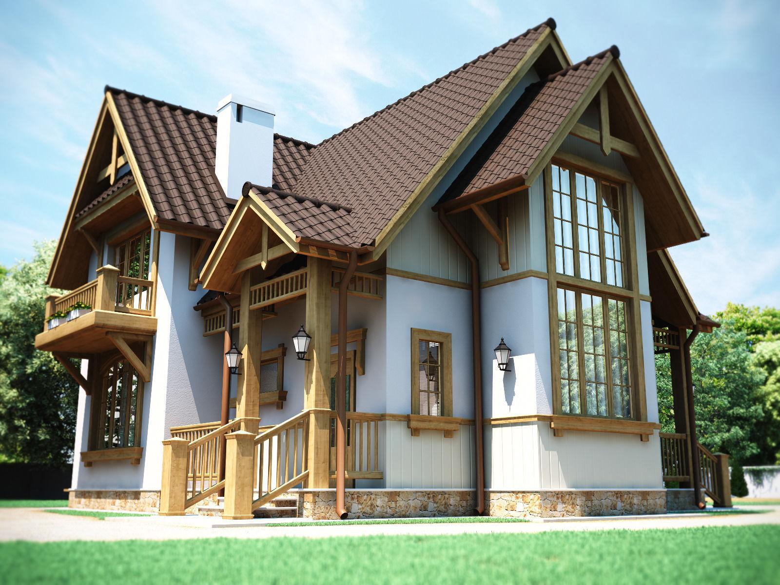 European Country House 3d Model Max Obj Fbx Mtl 1 ...