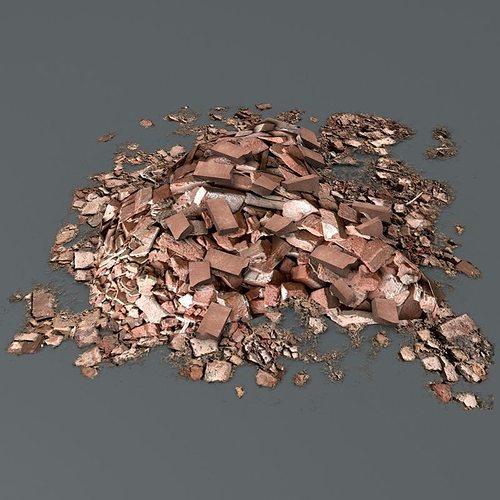 brick debris pile 3d model low-poly obj mtl fbx c4d tga 1