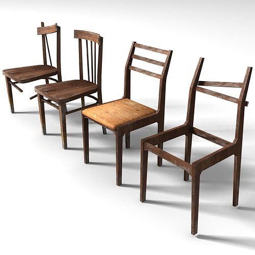 D Asset Old Low Poly Chairs CGTrader - Poly furniture