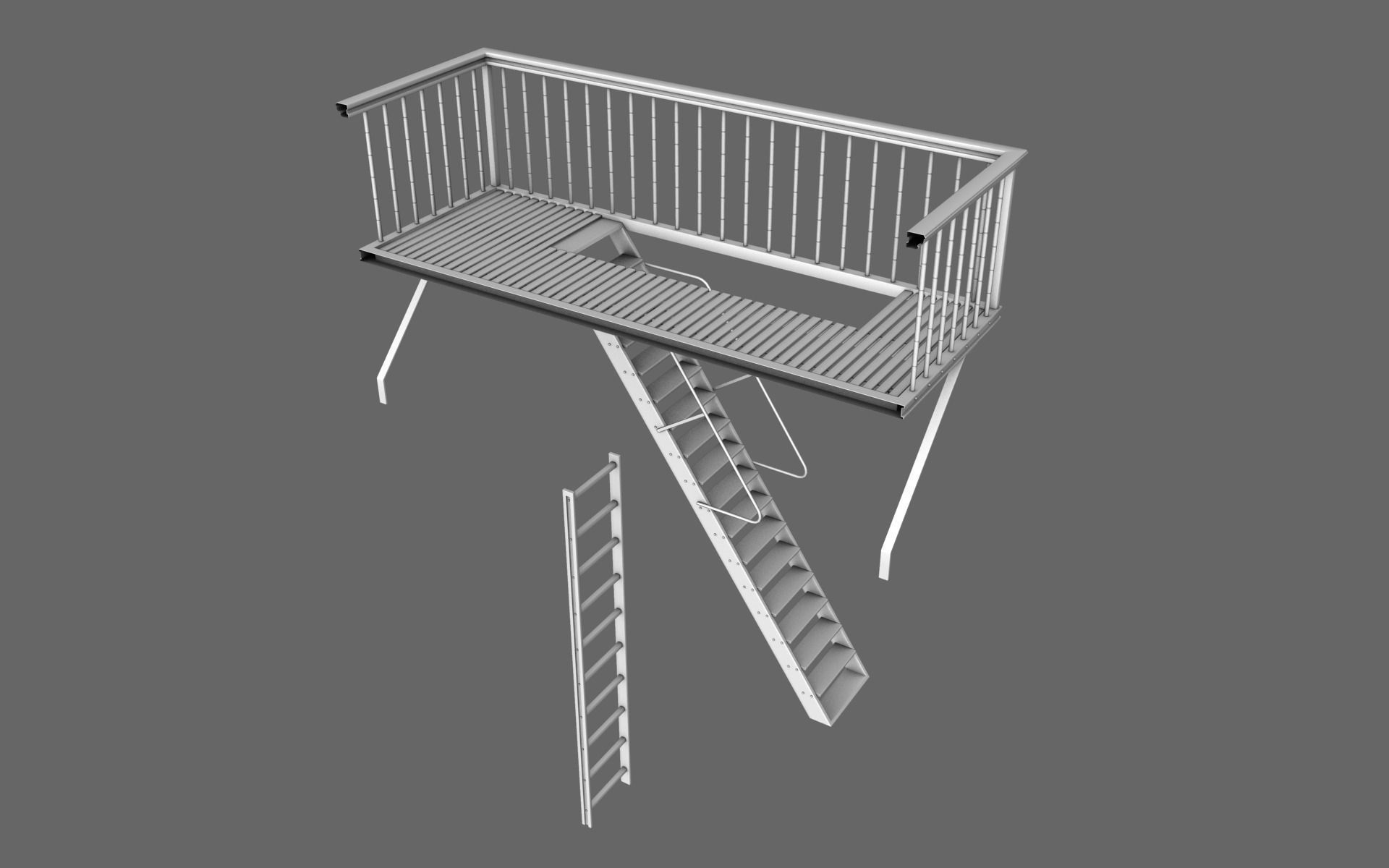 Urban balcony 3d model obj for Balcony models