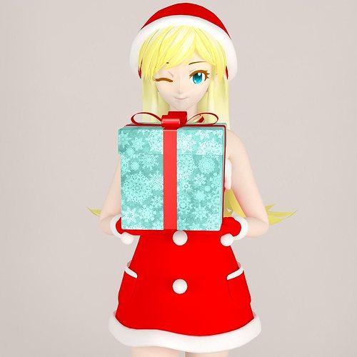 christmas toon girl pose 01 3d model max fbx tga 1