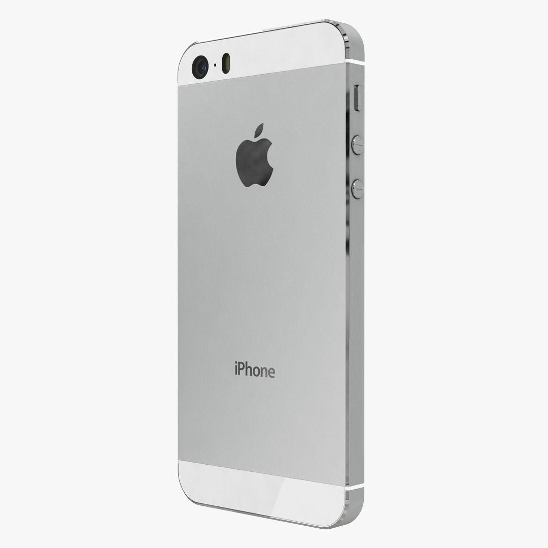 Apple Iphone 5s Silver 3d Model Max Obj 6