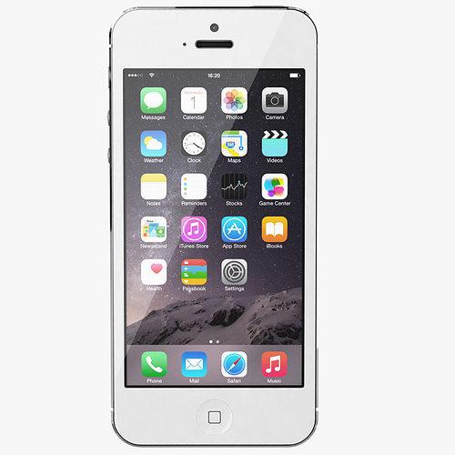 Apple Iphone 5 White Silver 3d Model Max Obj 2