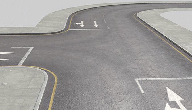 roads construction kit 3d model low-poly fbx ma mb 1