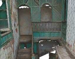 old stairway in abandoned house - lowpoly VR / AR ready 3d model