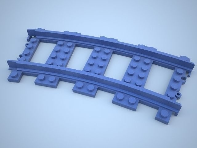 lego train track curved w support 3d model stp 2