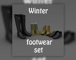 3D model Footwear Set Winter