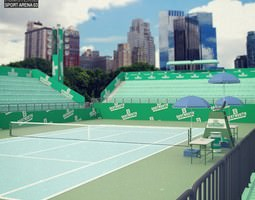 game-ready 3d model tennis arena