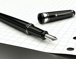 Elegant fountain pen 3D model
