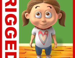 3D Girl baby cartoon rigged 03