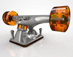 3D model Skateboard Truck with Wheels