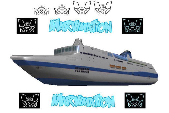 crusie ship paper cut out 3d model obj mtl 1