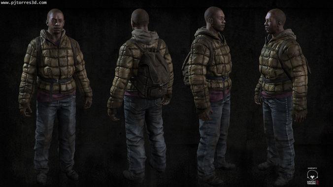 black man sur 3d model low-poly max obj tga 2