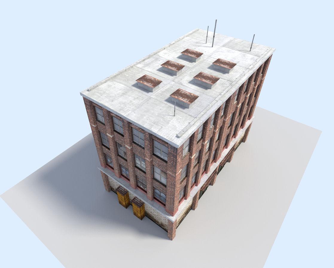 City flat house 3d model low poly obj 3ds fbx blend dae x3d 6