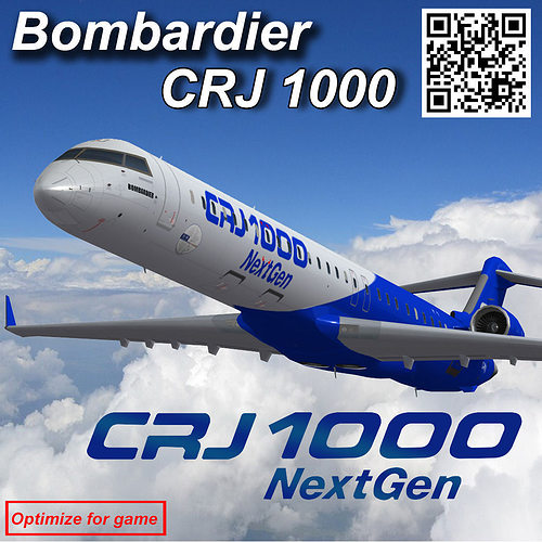 bombardier crj 1000 nextgen home livery 3d model low-poly animated max 1