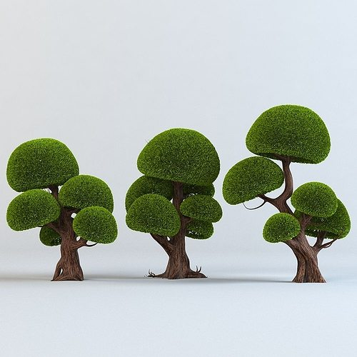 cartoon trees set 3d model max obj fbx mtl 1