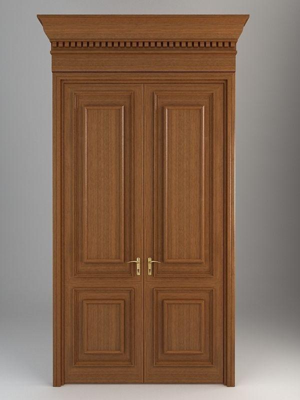Wooden door 5 3d model max obj 3ds fbx for Door 3d model