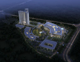 Hospital Building flat 3D model