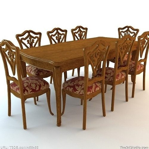 3d dining room table and chairs cgtrader for Dining room table 3ds max