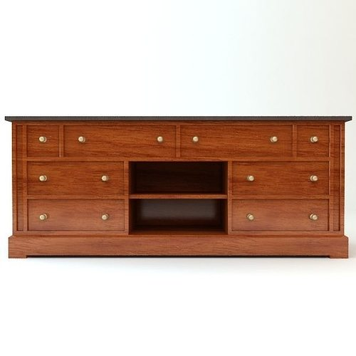 3d traditional style credenza cabinet cgtrader. Black Bedroom Furniture Sets. Home Design Ideas