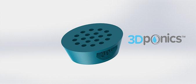 drain cap - 3dponics drip hydroponics 3d model obj mtl stl sldprt sldasm slddrw 1