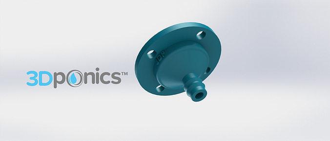 3-hole drip nozzle 3-8 inch - 3dponics drip hydroponics 3d model obj mtl stl sldprt sldasm slddrw 1