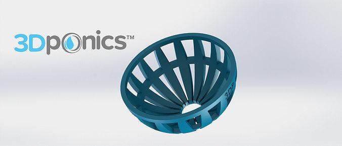 grow media basket v2 - 3dponics drip hydroponics 3d model obj mtl stl sldprt sldasm slddrw 1
